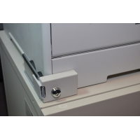 Laser Printer Paper Cassette Tray Lock. Color = Beige